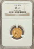 Indian Quarter Eagles: , 1910 $2 1/2 MS64 NGC. NGC Census: (778/186). PCGS Population(381/97). Mintage: 492,000. Numismedia Wsl. Price for problem ...