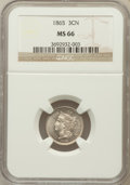 Three Cent Nickels: , 1865 3CN MS66 NGC. NGC Census: (16/1). PCGS Population (36/2).Mintage: 11,382,000. Numismedia Wsl. Price for problem free ...