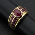 Estate Jewelry:Rings, Cabochon & Ruby 18k Gold Ring. ...