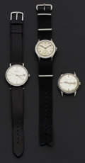 Timepieces:Wristwatch, Three Vintage Steel Wristwatches. ... (Total: 3 Items)