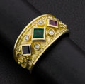 Estate Jewelry:Rings, Emerald Sapphire Ruby Gold Ring. ...