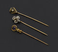 Estate Jewelry:Stick Pins and Hat Pins, Three Antique Gold Stick Pins. ... (Total: 3 Items)