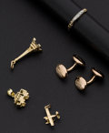Estate Jewelry:Other , Gold Cufflinks & Ring & Three Charms. ... (Total: 5 Items)