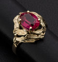 Estate Jewelry:Rings, Gold & Synthetic Red Stone Ring. ...
