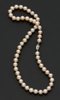 Estate Jewelry:Pearls, Cultured Pearls And Gold Necklace. ...