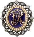 Estate Jewelry:Brooches - Pins, Victorian Diamond, Half-Pearl, Enamel, Gold, Silver Pendant-Brooch....