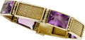 Jewelry, AN AMETHYST, GOLD BRACELET. The bracelet features rectangle-shaped amethyst weighing a total of approximately 25.00 carats, ...