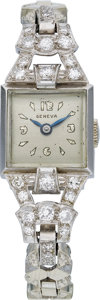 Estate Jewelry:Watches, Swiss Lady's Diamond, Platinum, White Gold Watch. ...