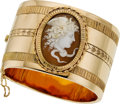 Estate Jewelry:Bracelets, Antique Shell Cameo, Gold Bracelet. ...