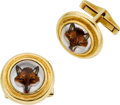 Estate Jewelry:Cufflinks, Quartz Intaglio, Mother-of-Pearl, Gold Cuff Links. ...