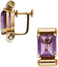 Estate Jewelry:Earrings, Retro Amethyst, Pink Gold Earrings. ...