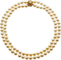 Estate Jewelry:Necklaces, Cultured freshwater Pearl, Gold Necklace. ...