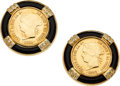 Estate Jewelry:Earrings, Gold Coin, Diamond, Black Onyx, Gold Earrings. ...