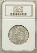 Bust Half Dollars: , 1832 50C Small Letters AU50 NGC. NGC Census: (136/1357). PCGSPopulation (226/1156). Mintage: 4,797,000. Numismedia Wsl. Pr...