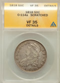 Bust Half Dollars, 1818 50C -- Scratched -- ANACS. VF35 Details. O-114a. NGC Census:(18/657). PCGS Population (58/586). Mintage: 1,960,322. N...