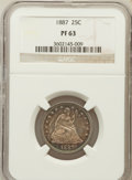 Proof Seated Quarters: , 1887 25C PR63 NGC. NGC Census: (31/159). PCGS Population (46/127).Mintage: 710. Numismedia Wsl. Price for problem free NGC...