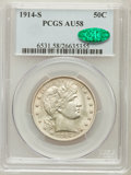 Barber Half Dollars: , 1914-S 50C AU58 PCGS. CAC. PCGS Population (15/104). NGC Census:(8/79). Mintage: 992,000. Numismedia Wsl. Price for proble...