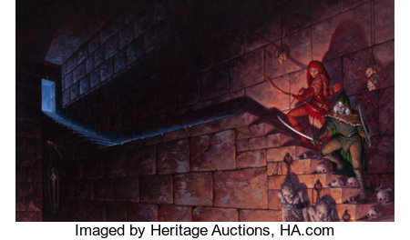 GERALD BROM (American, b. 1965) Legacy of the Drow, Collector's Edition book cover, 2001 Acrylic on board 21.5 x 35.5...