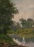 American:Still Life, AMERICAN SCHOOL (Late 19th/Early 20th Century). Landscape withRiver. Oil on board. 14-1/2 x 11 inches (36.8 x 27.9 cm)...