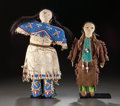 American Indian Art:Beadwork and Quillwork, TWO SIOUX BEADED HIDE FEMALE DOLLS. c. 1890 and 1920. ... (Total: 2Items)