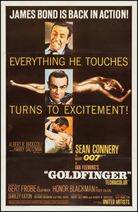 "Goldfinger (United Artists, 1964). One Sheet (27"" X 41""). James Bond"