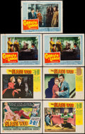 "Movie Posters:Crime, The Glass Web & Other Lot (Universal International, 1953) 3-D Style. Title Lobby Card & Lobby Cards (6) (11"" X 14""). Cri... (Total: 7 Items)"