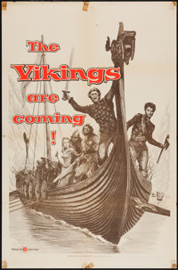 """The Vikings (United Artists, 1958). One Sheet (27"""" X 41"""") Advance & Lobby Cards (2) (11"""" X 14"""")..."""