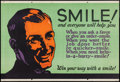 "Movie Posters:Miscellaneous, Smile! And Everyone Will Help You (Mather and Company, 1923).Motivational Poster (28"" X 41.5""). Miscellaneous.. ..."