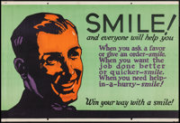 "Smile! And Everyone Will Help You (Mather and Company, 1923). Motivational Poster (28"" X 41.5""). Miscellaneous..."