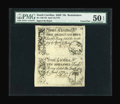 Colonial Notes:South Carolina, An Uncut Pair South Carolina April 10, 1778 3s/9d and 10s PMG About Uncirculated 50 EPQ....