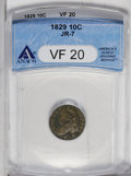Bust Dimes: , 1829 10C Small 10C VF20 ANACS. JR-7. NGC Census: (11/211). PCGSPopulation (1/182). Mintage: 770,000. Numismedia Wsl. Price...
