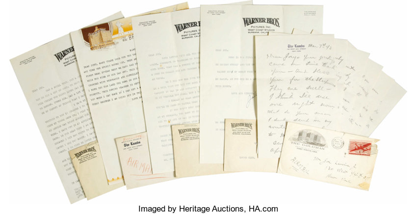 jack norworth signed letters to joe laurie jr set of lot 23055