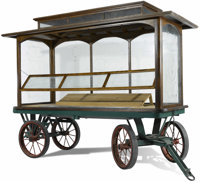 An American Trolley Car Fruit Cart  Unknown maker, American Late 19th/early 20th century Iron, glass, woo