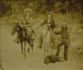 Photography:Cabinet Photos, Framed Photograph of Two Armed Men and Indian ca 1890s....
