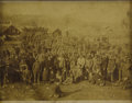 Photography:Cabinet Photos, Imperial Size Photograph of Many Miners with Candles and MiningLamps, ca. 1880s....