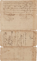Autographs:Statesmen, [Old Three Hundred]. Stephen F. Austin and Baron de Bastrop LandGrant Signed....