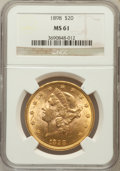 Liberty Double Eagles: , 1898 $20 MS61 NGC. NGC Census: (513/813). PCGS Population(374/676). Mintage: 170,300. Numismedia Wsl. Price for problemfr...