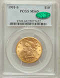 Liberty Eagles: , 1901-S $10 MS65 PCGS. CAC. PCGS Population (948/173). NGC Census:(1228/283). Mintage: 2,812,750. Numismedia Wsl. Price for...