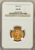 Three Dollar Gold Pieces: , 1878 $3 AU58 NGC. NGC Census: (1349/2939). PCGS Population(937/3428). Mintage: 82,304. Numismedia Wsl. Price for problem f...