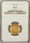 Liberty Half Eagles: , 1893-S $5 MS62 NGC. NGC Census: (349/156). PCGS Population(174/133). Mintage: 224,000. Numismedia Wsl. Price for problem f...