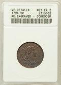 Half Cents: , 1794 1/2 C -- Corroded, Reengraved -- ANACS. VF Details, Net Fair2. NGC Census: (0/167). PCGS Population (1/363). Mintage:...