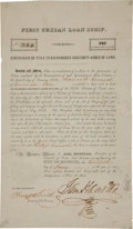 Autographs:Statesmen, [Republic of Texas]. Sam Houston First Texian Loan Scrip Signed...