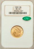 Liberty Half Eagles: , 1899 $5 MS63 NGC. CAC. NGC Census: (3284/2618). PCGS Population(1474/750). Mintage: 1,710,729. Numismedia Wsl. Price for p...