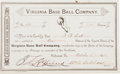 Baseball Collectibles:Others, 1883 Virginia Base Ball Company Stock Certificate....