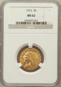 Indian Half Eagles: , 1912 $5 MS62 NGC. NGC Census: (3649/1470). PCGS Population(2700/1748). Mintage: 790,000. Numismedia Wsl. Price for problem...
