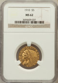Indian Half Eagles: , 1910 $5 MS62 NGC. NGC Census: (2016/1256). PCGS Population(1470/831). Mintage: 604,250. Numismedia Wsl. Price for problem ...