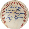 Baseball Collectibles:Balls, 1963 Early Wynn 300th Win Game Used Team Signed Baseball. ...