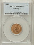 Indian Cents: , 1886 1C Type Two MS63 Red and Brown PCGS. PCGS Population (42/139).NGC Census: (34/109). Numismedia Wsl. Price for proble...