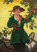 Mainstream Illustration, VINCENT LYNCH (American, 20th Century). Young Woman Picking anApple, possible cover for car magazine, 1916. Oil on canv...