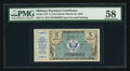 Military Payment Certificates:Series 472, Series 472 5¢ PMG Choice About Uncirculated 58.. ...